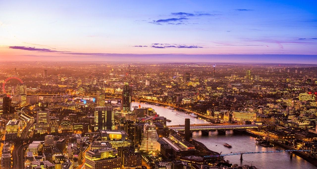 Vista panorámica de la ciudad de Londres, Inglaterra.