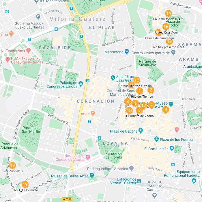 ruta de los murales de Vitoria - mapa